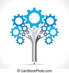 engrenage, arbre, créatif, conception, crayon