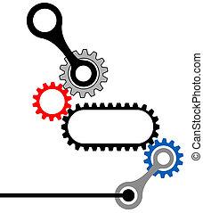 engrenage, box-mechanical, industriel, complexe