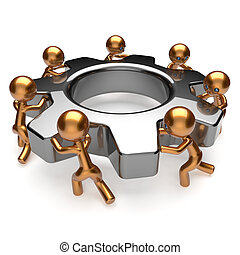 engrenage, business, processus, association, main-d'oeuvre, collaboration, équipe