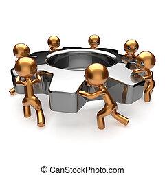 engrenage, business, processus, ouvriers, association, collaboration, équipe