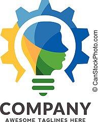 engrenage, coloré, tête, combiner, ampoule, logo, conception, humain