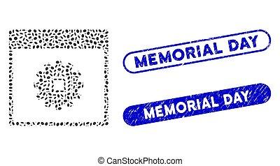 engrenage, elliptique, timbres, puce, mosaïque, jour commémoratif, page, textured, calendrier