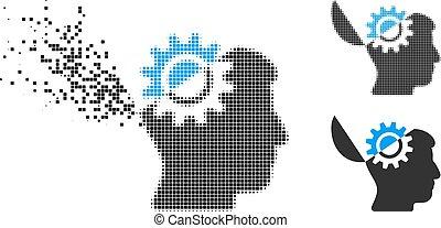 engrenage, esprit, halftone, cassé, ouvert, pixel, icône