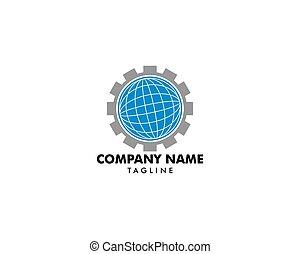 engrenage, global, vecteur, conception, gabarit, logo