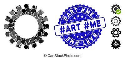 engrenage, icône, #art, #me, collage, textured, cachet