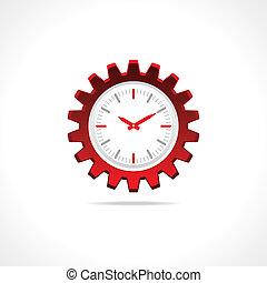 engrenage, icône, horloge