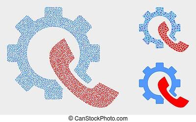 engrenage, icônes, téléphone, vecteur, récepteur, pixel