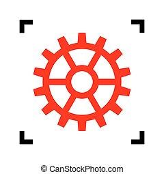 engrenage, isolated., coins, signe., foyer, arrière-plan., noir, vector., blanc, intérieur, rouges, icône