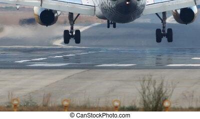 engrenage, jet, piste, détail, atterrissage, avion