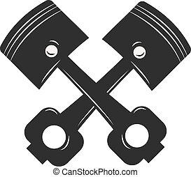 engrenage, moteur, pistons, service, réparation, emblème, voiture., auto