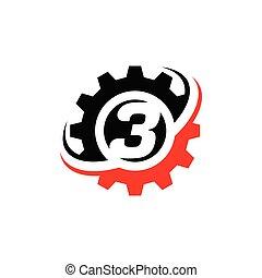 engrenage, numéro 3, conception, gabarit, logo