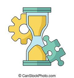 engrenage, puzzle, sablier, morceau