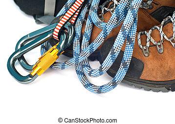 engrenage, randonnée, -, bottes, corde, carabiners, escalade