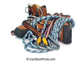 engrenage, randonnée, cordes, -, bottes, carabiners,...