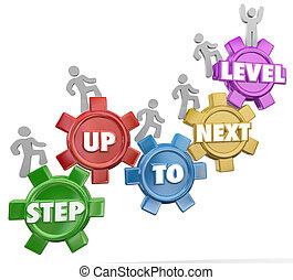 engrenage, reussite, niveau, haut, suivant, étape, levée, marchers, accomplissement