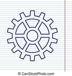 engrenage, signe., papier cahier, field., fond, marine, ligne, icône, rouges, vector.