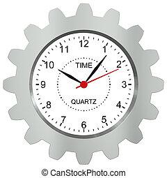 engrenage, -, symbole, métal, montres, machine, temps