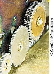 engrenage, transmission, mechanism., engrenages, roues, closeup.