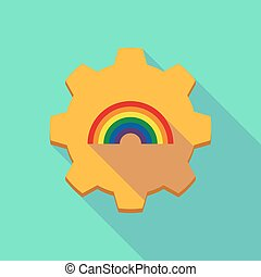 engrenagem, ícone, arco íris, longo, sombra
