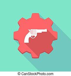 engrenagem, ícone, longo, sombra, arma