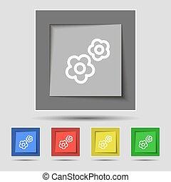engrenagem, ícone, sinal, ligado, original, cinco, colorido, buttons., vetorial
