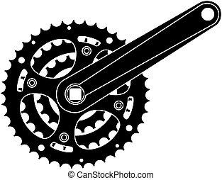 engrenagem bicicleta, metal, cogwheel
