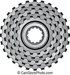 engrenagem bicicleta, roda dentada, cogwheel, vetorial, ícone