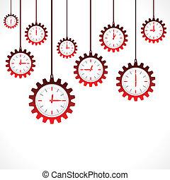 engrenagem, clocks, forma, vermelho