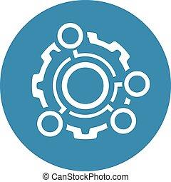 engrenagem, dots., técnico, símbolo., engenharia, icon., dados, opção