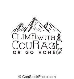 engrenagem escalando, elements., logotype., vindima, camisa, tipografia, ilustração, etiqueta, vetorial, t, ao ar livre, design., desenhado, escalar, mão, emblema, montanha, aventura