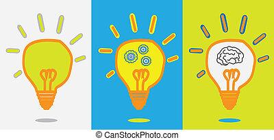 engrenagem, lâmpada, progresso, idéia