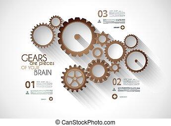 engrenagem, mecânico, timeline, infographic, conceito