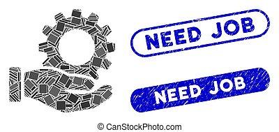 engrenagem, necessidade, trabalho, mosaico, serviço, selos, angústia, retângulo