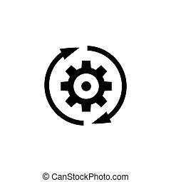 engrenagem, rotação, direção, apartamento, vetorial, ícone