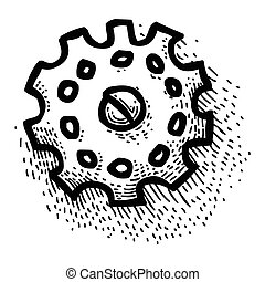 engrenagem, símbolo, caricatura, engenharia, icon., imagem