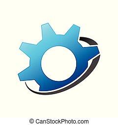 engrenagem, satélite, desenho, engenharia, símbolo, simples