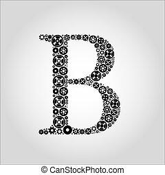 engrenagem, silueta, alfabeto, b