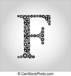 engrenagem, silueta, alfabeto, f
