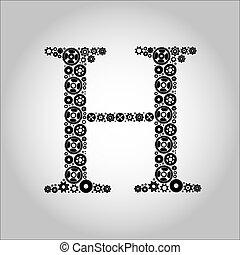 engrenagem, silueta, alfabeto, h