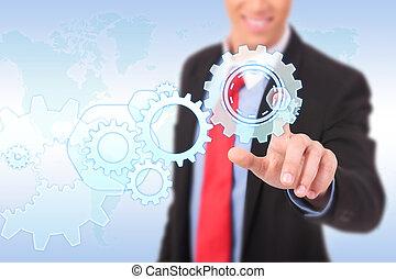 engrenagem, visão, negócio, processo