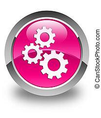 engrenagens, ícone, lustroso, cor-de-rosa, redondo, botão