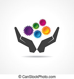 engrenagens, coloridos, mão