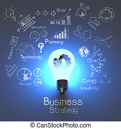 engrenagens, estratégia, bulbo, negócio claro, conceito