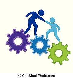 engrenagens, sucesso, metas, escalando, logotipo, ícone