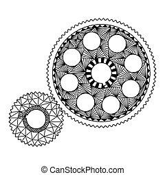 engrenagens, zenart, padrões, branca, pretas, estilo, desenho, zentangle, doodle, dois, mecanica