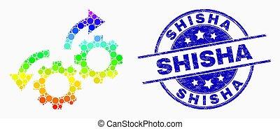 engrenages, détresse, watermark, flèches, clair, vecteur, pixelated, rotation, shisha, icône