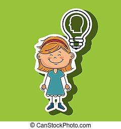 engrenages, girl, idée, icône