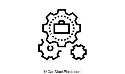 engrenages, icône, animation, ligne, mécanique