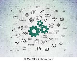 engrenages, papier, concept:, fond, numérique, commercialisation, données