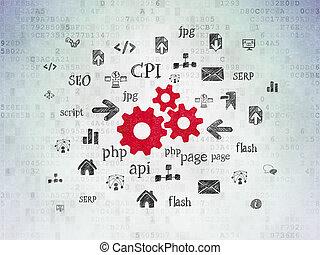 engrenages, papier, concept:, fond, numérique, développement enchaînement, données
